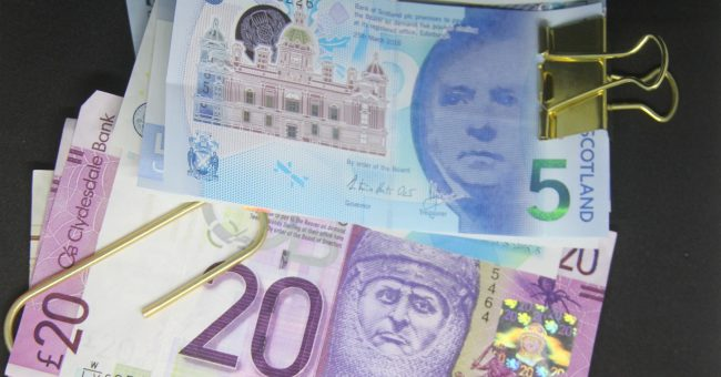 Scottish bank notes in clips