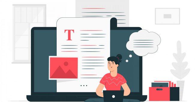 Woman writing a blog post