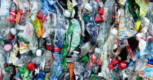 Plastic bottles crushed