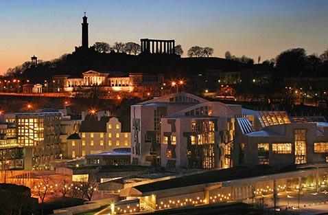 Scottish Parliament at night